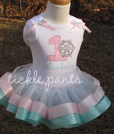 Winter ONEderland Birthday Collection PINK and AQUA by ticklepants, $55.99