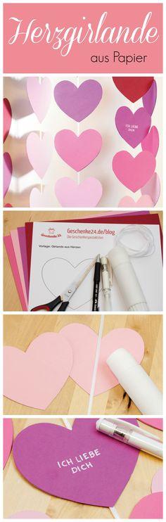 Schnelle DIY-Girlande aus Papierherzen. Passt super zum Valentinstag oder als Hochzeits-Deko.
