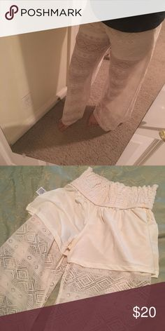 White lace beach/palazzo pants NWOT. These are new without a tag. Wide flare leg/Beach pants. Mini short attached . Super cute with gladiator sandals or heels. Size women's small. Inseam: 30inches (not topshop) Topshop Pants Wide Leg