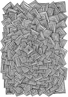 Free coloring page coloring-adult-relax-squares. Many square entangled without logic