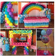 Decoracion con globos My little Pony Unicorn Themed Birthday, Trolls Birthday Party, Unicorn Birthday Parties, Unicorn Party, Birthday Party Themes, Rainbow Dash Party, Rainbow Birthday Party, My Little Pony Party, Fiesta Little Pony