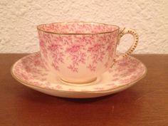 Antique 1892 Royal Worcester Cup & Saucer w/ Red / Pink Floral Decoration #RoyalWorcester