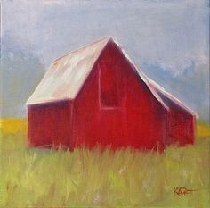"Daily Painters Abstract Gallery: ""Red Barn"" contemporary painting by Colorado artist Kate Dardine"