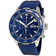 IWC Aquatimer Chronograph Blue Leather Strap Mens Watch. List price: $5600
