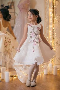 Hi Low Flower Girl Dress with Flowers Embroidery Pageant Dresses for Kids Gowns For Girls, Girls Party Dress, Little Girl Dresses, Baby Dress, The Dress, Girls Dresses, Flower Girl Dresses, Gown Dress, Flower Girls