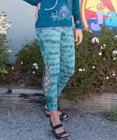 Love this Light Teal Tie-Dye Cutout Leggings - Women by Jayli on #zulily! #zulilyfinds