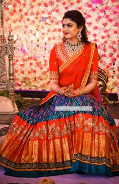 Lehenga Saree Design, Half Saree Lehenga, Lehnga Dress, Lehenga Designs, Wedding Saree Blouse Designs, Half Saree Designs, Fancy Blouse Designs, Indian Bridal Outfits, Indian Bridal Fashion