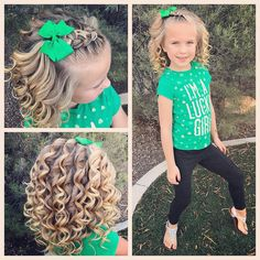 Curls, curls and more curls! it was Green Day at school yesterday and she didn't have any after school activities so we had fun making some sassy curls! We added a little Dutch braid on the top with a little bow! Kids Updo Hairstyles, Braided Hairstyles For School, Girls School Hairstyles, Cute Girls Hairstyles, Princess Hairstyles, Flower Girl Hairstyles, Sassy Haircuts, Summer Hairstyles, Braid And Curls Hairstyles