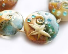 Beachy blue and golden beige Lampwork glass beads  by MayaHoney  #glass #lampwork #beads #jewelry #gift #mayahoney