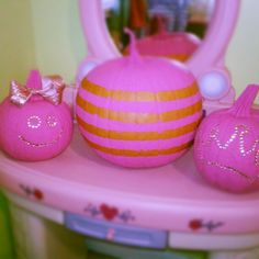 Pink pumpkins Pink Halloween, Halloween Pumpkins, Pink Pumpkins, Pumpkin Ideas, Holiday Looks, Holiday Decorating, Breast Cancer Awareness, Art Tutorials, Fundraising