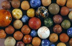 Very Old Clay Marble With Vintage Bag Marbles