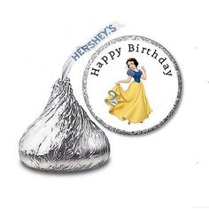 216 SNOW WHITE HERSHEY'S KISS CANDY BIRTHDAY STICKER LABELS - Party Favors