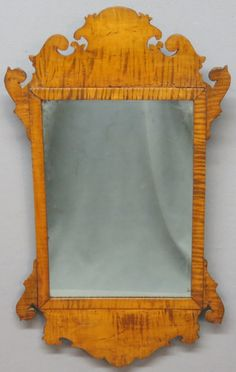 CHIPPENDALE CURLY MAPLE SCROLLWORK MIRROR