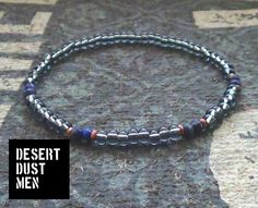 Mens bracelet blue and grey, Grey mens style, Grey mens jewelry, Grey wrist game by DESERTDUSTMEN on Etsy