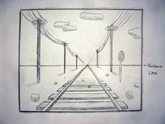 one point perspective railroad tracks: