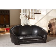 Make your new puppy feel right at home with this brown pet sofa, designed for dogs less than 30 pounds. With an easy-to-clean construction, faux-leather material completes the cultivated look of this couch, ensuring a smooth texture your dog will enjoy.