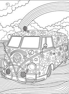 Vw Kombi Coloringpage Colorish Coloring Book For Adults Adult Coloring Book Pages, Coloring Pages To Print, Free Coloring Pages, Printable Coloring Pages, Coloring Sheets, Colouring Pages For Adults, Coloring Pages For Grown Ups, Colouring Pics, Coloring For Kids