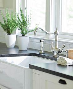 kitchens - Benjamin Moore - Cloud White - Ann sacks subway tiles backsplash honed black granite countertop Rohl faucet kit Rohl farmhouse sink