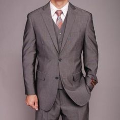 SKU#FR4852 Men's Grey Birdseye Three-piece Suit $139 Mens Discount Suits By Style and Quality 2 Button Suits