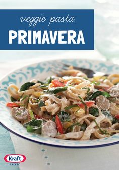 Veggie Pasta Primavera — You don't have to tell anyone that this sauce-alicious pasta dish is Healthy Living. With fresh spinach and peppers in a creamy cheese sauce, they won't believe you anyway. Veggie Pasta, Pasta Salad, Healthy Living Recipes, Pasta Primavera, Parmesan Pasta, Creamy Cheese, Side Salad, Cheese Sauce, How To Cook Pasta