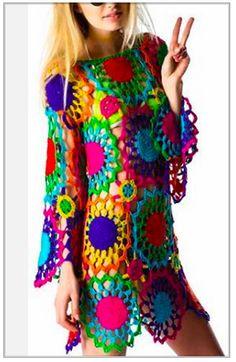 unif psych out dress Pull Crochet, Hippie Crochet, Knit Crochet, Hippie Dresses, Boho Dress, Beachwear For Women, Crochet Fashion, Vintage Crochet, Crochet Crafts