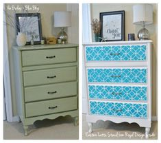 Great furniture stencil makeover with the Eastern Lattice Moroccan stencil on dresser drawers from Burlap+Blue. http://www.royaldesignstudio.com/blogs/stencil-ideas/tagged/stenciled-furniture Blog.
