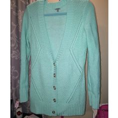 Aqua blue long cardigan NWOT aqua blue long cardigan! Very soft and warm material! I just never actually wore it out in public! Nothing wrong with it, it is just not my personal style! No trades :) Charlotte Russe Sweaters Cardigans