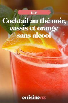 Ce cocktail sans alcool au thé noir, cassis et orange est prêt en 5minutes. #recette#cuisine#cocktail#sansalcool #thenoir #cassis #orange #the Cocktails, Drinks, Cantaloupe, Orange, Food And Drink, Peach, Candy, Fruit, Bartenders
