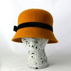 Mustard Gold Cloche Hat  Made to Order by MoeSewCoMillinery, $140.00