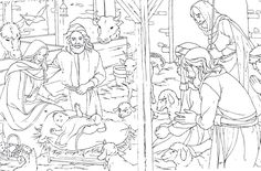 Shepherds visit Baby Jesus and family in a stable (Luke 2) (from creativekidstuff.blogspot.com/2010_12_01_archive.html)