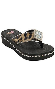 Justin® Samantha™ Womens Black/Brown Leopard Print Jeweled Flip-Flop by M® | Cavenders Boot City