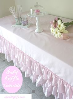 DIY No Sew Ruffle Tablecloth For Less Than $10