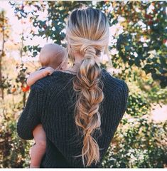 Thick braid: thick and voluminous braid on blonde hair. Make your basic braid thicker by adding hair extensions. Love this braid for working out, going to school or for lunch dates.