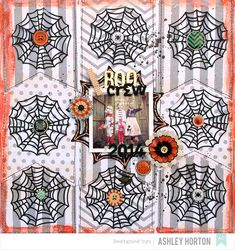 Boo Crew - Scrapbook.com - Place buttons and brads at the center of die cut spider webs for a whimsical look!