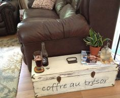 Distressed Treasure Chest Side Table