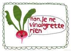 """Typo Poster, französisch """"non, je ne vinaigrette rien!"""" // french typo print by hebbedinge via DaWanda.com"""