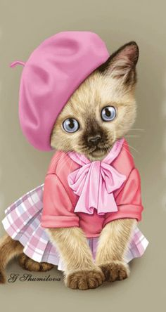 Pretty in pink Cute Baby Cats, Cute Little Animals, Kittens Cutest, Cats And Kittens, Good Morning Animals, Kitten Drawing, Kitten Cartoon, Image Chat, Crazy Cats