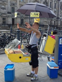 Technology has finally fused Hot dog cart and man together !