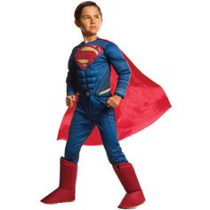 Superman Boy Muscle Chest Halloween Costume, Size: Small, Multicolor