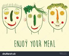Vector funny illustration with faces made of fruits and vegetables. Enjoy your meal. Three characters. eps 10