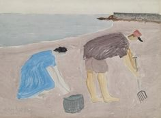 Artwork by Milton Avery, CLAM DIGGERS, Made of watercolor,  gouache  and  charcoal  on  paper  laid  down  on  board