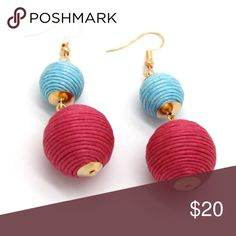 """Double Threaded Ball Les Bon Bon Earrings These trendy blue and pink crispin earrings are fun and light weight, making it easy to turn a simple outfit into festive. Delicate gold detail and fish hook closures. Size : 0.8"""" X 3"""".Oscar de la Renta and Baublebar have similar pairs but are much more expensive! Other colors available and will bundle any two for 15% off! Jewelry Earrings"""