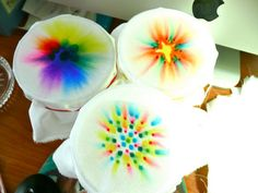 Sharpie Tie Dye Very cool idea for ornaments, t-shirts, scarves. Can add to the tie dye with sharpie drawings over top after the alcohol is dry. Sharpie Crafts, Sharpie Art, Sharpie Markers, Crafts To Do, Crafts For Kids, Arts And Crafts, Projects For Kids, Craft Projects, Craft Ideas