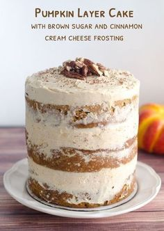Pumpkin Layer Cake with brown sugar & cinnamon cream cheese frosting! By The Cake Merchant Thanksgiving Desserts, Fall Desserts, Just Desserts, Dessert Recipes, Fall Cake Recipes, Layer Cake Recipes, Kraft Recipes, Food Cakes, Cupcake Cakes