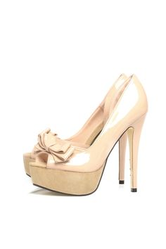 Nude Peep Toe Bow Heels - AX Paris