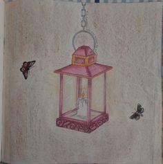 Lamparina - Livro: Jardim Secreto - fundo giz de cera