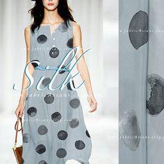 Grey silk crepe fabric by the yard dot fabric