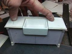 Kitchen Cabinet from Mat Board: Dollhouse Miniature Furniture - Tutorials Dollhouse Miniature Tutorials, Miniature Crafts, Diy Dollhouse, Miniature Dolls, Dollhouse Miniatures, Miniature Furniture, Dollhouse Furniture, Kitchen Furniture, Furniture Design
