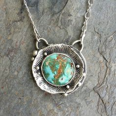 Pickhandle Mine Natural Turquoise Necklace in by coldfeetjewelry