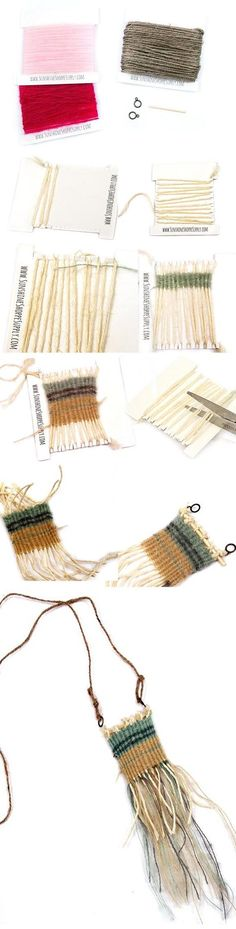 This DIY cardboard weaving loom is the perfect small weaving project for kids or adults to give it a try- make an adorable necklace or mini wall hanging in an afternoon with no special tools!
